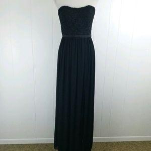 Black Long Chiffon Dress Lace Sweetheart F18095